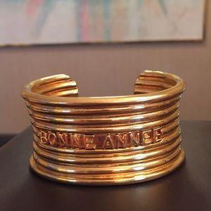VTG Dior Bonne Annee Ribbed Cuff Bracelet